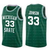 saias de pássaros venda por atacado-Saias de tênis Spartans do Estado do Michigan 33 Earvin Johnson Magic LA Green White College 33 Larry Bird High School