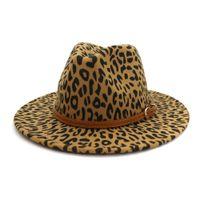 Wholesale church decor for sale - Group buy DHL Unisex Plain Leopard Print Belt Buckle Decor Australia Wool Felt Jazz Fedora Hat Men Women Flat Brim Panama Formal Hat