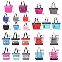 shopping artistique achat en gros de-24 couleurs rose sac à main sac à bandoulière classique Portable Sacs à provisions sac de mode pour les femmes rose lettre dames totes
