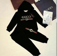 hoodies da forma para meninas da criança venda por atacado-Novos esportes clássicos terno menino de mangas compridas calça casual camisa menina hot stamping shirt T-shirt moda de manga curta de algodão com capuz