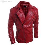 ingrosso cappotti di cuoio di lusso-Autunno-2016 degli uomini di lusso cinese Online Store Mens Coats motociclista rivestimento di cuoio Coats Zipper modo poco costoso Outwear New renna S1108
