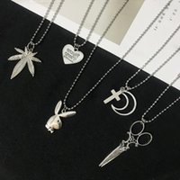 Wholesale love scissors for sale - Group buy New Upgraded Stainless Steel Pendant Necklace Cross Moon Love Scissors Rabbit Designs Long Chain Party Jewelry for Cool Girl