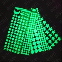 Wholesale moon stars wall decor resale online - 1pcs Glow In The Dark Sticker Luminous Star Moon DIY Phosphorescent Wall Stickers for Baby Bedroom Wall Decals Home Decor