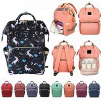 Wholesale eco friendly diapers resale online - Diaper Backpack Unicorn Multi color Baby Mommy Changing Bag Mummy Backpack Nappy Mother Maternity Backpacks Oxford Cloth MMA1496 p