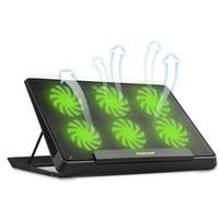14 zoll laptops großhandel-Nuoxi 6 LED Fan Cooling Pad Aluminium Laptop-Kühler Pad Ständer für 14 Zoll 15,6 Zoll USB-Kühler Notebook Base Holder einstellbar