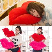 Wholesale red lips throw pillows resale online - Cotton Lip Shaped Pillow Case Waist Throw Home Decor Creative Lip Shaped Pillow Cushion Red Pink