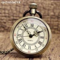 Vintage Bronze Simple Cute Roman Numerals Fullmetal Alchemist Quartz Pocket Watch Men Women Pendant Chain Steampunk Retro Clock