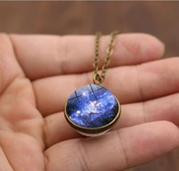 ingrosso collana della catena della sfera blu-Collana in vetro moda nebulosa blu pendente collana donne epoca matrimonio tempo gemma maglione catena collana gioielli per regalo