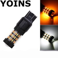 Wholesale car lamp bulb 3157 online - 6pcs Bright SMD LED Bulbs Yellow White Canbus Error Free Turn Signal Light Lamp Driving Lamp Car Styling