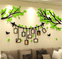 фотообои наклейки оптовых-Acrylic Photo Frame Tree Wall Stickers 3D Photo Tree Wall Sticker Creative Living Room TV Background Wall Decal Home Decoration
