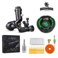 Wholesale needles grips tips resale online - Top Tattoo Kit Dragonhawk Raven Gen II Rotary Motor Gun Airfoil Power Supply Needles Tips Grip D3088