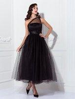 винтажные вдохновленные коктейльные платья оптовых-Вечернее платье A-Line из лодыжки и тюля, с короткими рукавами