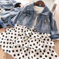 Wholesale girls cute down jackets for sale - Group buy Fashion girls designer outfits girls fall boutique clothing kids designer clothes girls suits denim jackets dots princess dress A7912