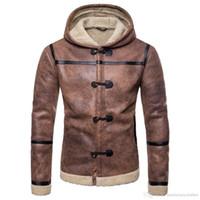 ingrosso giacca moto marrone-Moda maschile Marrone Cappotti di pelle PU Inverno Designer di spessore Taglia EU Moto freddo Giacche