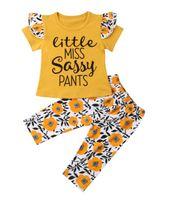 flores de calças amarelas venda por atacado-2019 novas crianças meninas roupas set Little miss sassy pants flor amarela manga curta crianças roupas camiseta + calça longa conjunto de roupa