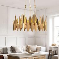 Wholesale adjustable led lighting pendants for sale - Group buy Luxury Plate Gold Leaf Shape Metal Lustre Circle Led Pendant Lights Adjustable Rod Hanging Lamp Living Room Lighting Fixtures