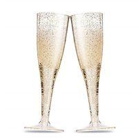 champanhe brindando venda por atacado-Ouro Glitter Plástico Flautas De Champanhe Brinde De Plástico Transparente Copos Copos de Cocktail Festa de Aniversário Festa de Aniversário Copos de Cozinha Descartável