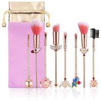 золотой макияж оптовых-Ace Beauty Ultimate Face Makeup Tools 8-Piece Rose Golden Luxury Металлические Кисти Для Макияжа Коллекция - Том 1