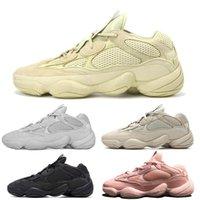 sapatos super quentes venda por atacado-boost 500 Venda quente Kanye West 500 sapatos Super Lua Amarelo Blush Desert Rat 500 s Mens sapatos de grife Mulheres formadores sports Sneakers tamanho 12 13