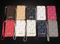 deri çanta toptan satış-Lüks Ünlü Cüzdan Telefon Kılıfı Için Samsung S9 S8 S7 S6 Deri Kabuk Durumlarda IPhone X XS Xr 8 7 6 s Artı Çevirme K ...