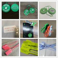 ingrosso carte blu-OW Zip Tie Stock X Plastic Rosso Giallo Bianco Blu QR OG Tag Shoe QR + Sticker + Card OFF Shoes Verificato Authentic Shoelace Box