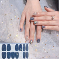 Wholesale sticker lavender for sale - Group buy 14tips Full Cover Gradient Shiny Nail Stickers Adhesive Wraps Decorations DIY for Beauty Flowers Nail Art Polish Plain Stickers