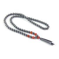 colares de hematita venda por atacado-Hematita magnética 8mm Rodada Beads Lápis Forma Pingente de Colar com Jóias Onyx Vermelho para Homens e Mulheres Presente