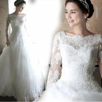 cheap wedding dresses toptan satış-Ücretsiz Kargo Uzun Kollu Gelinlik A Hattı Dantel Tekne Boyun Gelin Elbise Lace Up Geri Kat Uzunluk Yeni Arrvals Ucuz Fiyat