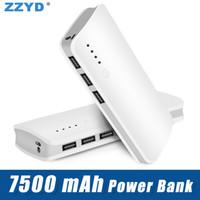 chargeur portable de cylindre achat en gros de-Banque d'alimentation haute capacité 3 ports USB 20000mAh (pleine 7500mAh) Banque d'alimentation portable ROMOSS de secours pour téléphone portable