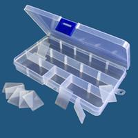 recipientes de armazenamento de grânulos de plástico venda por atacado-Armazenamento de jóias Ajustável caixa Transparente uso doméstico armazenamento Organizador quinze grades tipos coloridos Contas De Plástico Brinco Recipiente QQA291