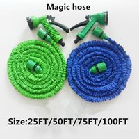 Wholesale expandable garden hose pipes resale online - 25FT FT High quality Plastic Materials A Quality Blue Water Spray Nozzle Sprayers Expandable Flexible Water hose Garden Pipe Set