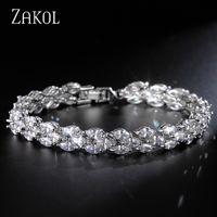Wholesale wedding bracelets online - ZAKOL Trendy Roman Wedding Bracelets Marquise Cut Clear Cubic Zircon Leaf Bracelets amp Bangles For Women Party FSBP130