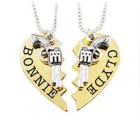 parejas de corazón roto colgante al por mayor-Gun Partner Necklace Broken Heart Colgante Cadena Pareja Joyas Hombre Mujer Pareja Collar