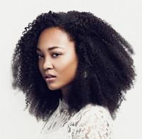 kinky kıvırcık insan saçı satışı toptan satış-Tutkalsız Brezilyalı Virgin İnsan saç Kinky Afro Kıvırcık Dantel Ön ve tam Dantel Peruk Bebek saç Doğal Siyah Kadınlar Için Satışa ...