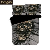 skull bedding venda por atacado-Bonenjoy Mais Recente Projeto Crânio Roupa de Cama King Size Consolador Conjuntos de Cama 3 pcs Cor Preta Personalidade Capa de Edredão Queen Bed Set
