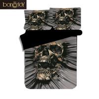 skull bedding großhandel-Bonenjoy Neueste Design Schädel Bettwäsche King Size Tröster Bettwäsche-sets 3 stücke Schwarz Farbe Persönlichkeit Bettbezug Queen Bed Set
