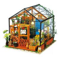 dollyhouse mobilya yapımı toptan satış-Robotime 15 Çeşit Diy Ev Mobilya Ile Çocuk Yetişkin Minyatür Ahşap Bebek Evi Modeli İnşaat Setleri Dollhouse Oyuncak Dg SH190709