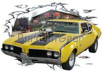 gelbes muskelhemd großhandel-1969 gelbe Oldsmobile F 85 benutzerdefinierte Hot Rod Garage T Shirt 69 Muscle Car Tees