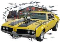 camisa amarilla del músculo al por mayor-1969 Oldsmobile F 85 amarillo Hot Rod Garaje camiseta 69 Muscle Car Tees