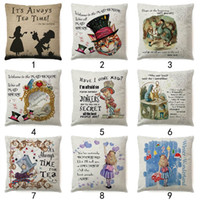 Wholesale alice case online - 18 Inches Alice Adventures In Wonderland Throw Pillow Case Cotton Linen Sofa Cushion Cover Decorative Pillow Cover Home Decor