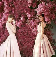 güzel çay uzunluğu önlük toptan satış-Güzel Audrey Hepburn Kokteyl Elbiseleri Vintage Yüksek Kalite Açık Pembe Çay Boyu Ünlü Örgün Parti Kıyafeti