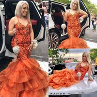 Wholesale spaghetti hand skirt for sale - Group buy 2019 Mermaid Evening Dresses Spaghetti Lace Appliqued Crystal Tiered Skirt Prom Dress Sweep Train Formal Party Gowns Floor Length