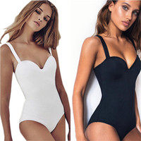 Wholesale sexy swim online - Sexy Push Up Bodysuit Steel one piece swimsuit Butt Lifter swim suit women Swimwear Shaper Bathing suit female Monokini Black