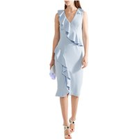 ingrosso abiti di marca di ginocchio-Brand Fashion Women's 2019 Summer Ruffles Off the shouler Vestito da festa casual al ginocchio Azzurro Vestido femminile