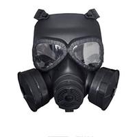 vollgesichts-paintball-maske großhandel-CS Soft Dummy Gasmaske für taktisches Paintball-Kriegsspiel mit Doppelfilterfächern Full Face Guard Antivirus Schädelmaske für Halloween