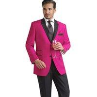 erkekler için pembe smokinler toptan satış-Pembe Örgün Parti Elbise Erkek Düğün Takım Damat Smokin Ceket + Pantolon 2 Parça Groomsmen İyi Adam