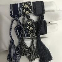 weben armbänder großhandel-19Hot D Marke Modeschmuck Für Frauen Baumwolle Schmuck Brief Unterschrift Stickerei Armband Gewebt Armreif Quaste Lace-up Armband