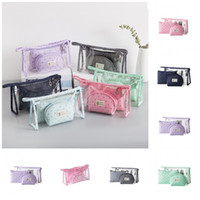 Wholesale crown door resale online - Little Crown Printed Travel Cosmetic Bags Pvc Clear Wash Bag Portable Women Water Proofing Handbag One Pack Large Capacity rj E1