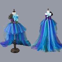 ingrosso vestiti da ragazza dei fiori di pavone-Princess Girls Peacock Tutu Dress Bambini Girl Birthday Party Dress Train Pageant Ball Gowns Per Bambini Tulle Flower Girl Dresses J190618