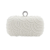 Wholesale made pearls bag resale online - The Hand made Luxury Pearl Clutch bags Women Purse Diamond Chain white Evening Bags for Party Wedding black Bolsa Feminina